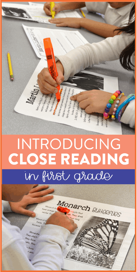 Close reading in first grade can be tricky! This post explains how I teach close reading in the primary grades, provides an anchor chart to use, and you can even grab a free close reading passage for first and second grade students!