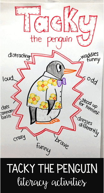 My students love Tacky the Penguin! If you're looking for some literacy activities to complete while reading a bunch of different Tacky books, this blog post has a ton of ideas! From character traits with Tacky to comparing the different books, there is a lot to study when looking at Tachy the Penguin!