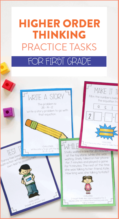 I am always looking for new ways to stretch my first grade students' understanding of math concepts and these higher order thinking tasks do just that! There are over 80 different tasks all aligned to the first grade common core math standards for students to try out! Head on over to see more.