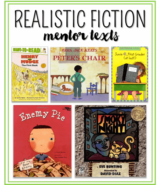 Some of my favorite mentor texts for writing realistic fiction! Head over to the post to see how I use them in 1st and 2nd grade classrooms.