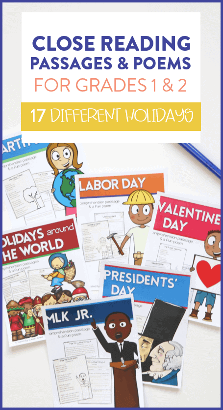 Close reading passages and poems for first and second grade students! They can read about each holiday and go back to answer text-dependent questions and determine the meaning of different content specific vocabulary.