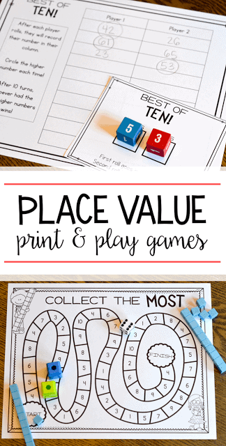 Playful image for place value game printable