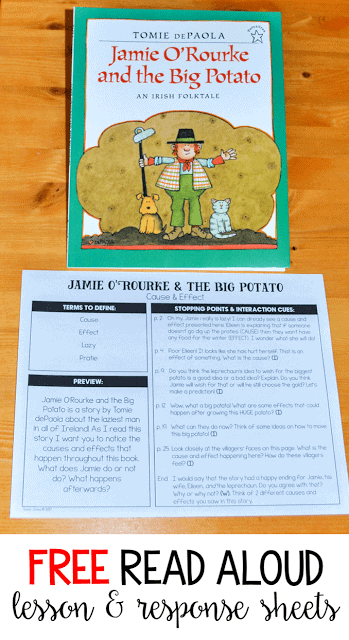 Looking for some new St. Patrick's Day activities to use with Jamie O'Rourke and the Big Potato? You can grab this FREE read aloud lesson and response sheets over on the blog! This is great for first and second grade students.