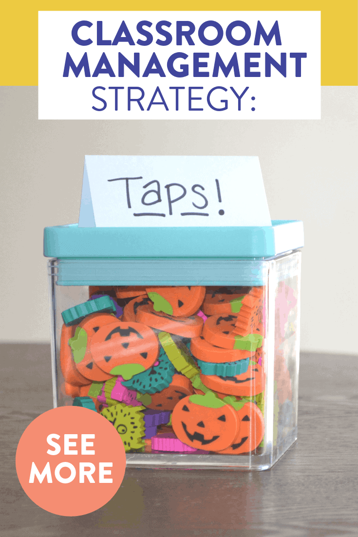"Wondering how to maintain quiet, respectful lines in the hallway?! Read about my FAVORITE classroom management strategy for an elementary classroom! All it needs are some mini erasers and a little ""tap"" on the shoulder."