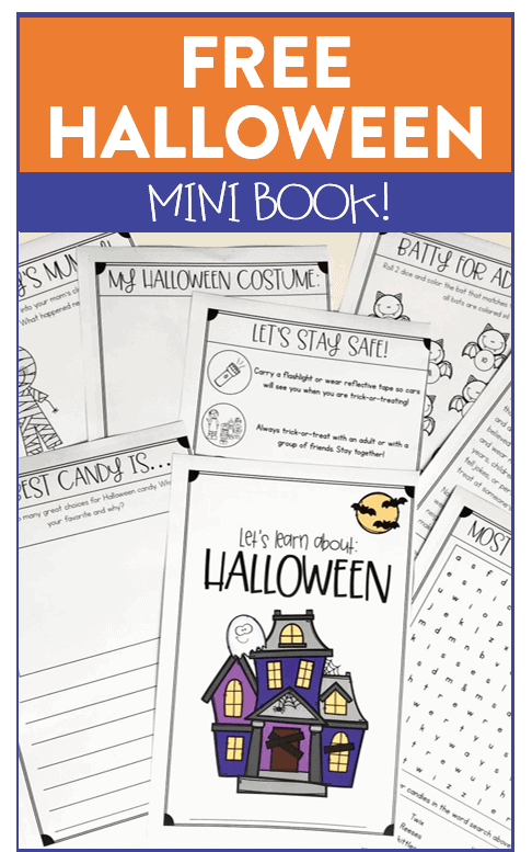Download this free halloween activity booklet for first and second grade! It has reading, writing, and math activities included. #halloweenactivities