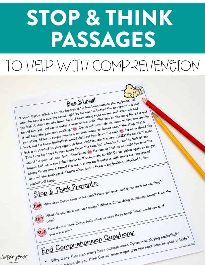 These first grade comprehension activities are perfect for helping first and second grade students stop and check in with what they are reading. Head over to the blog post to grab three FREE passages!