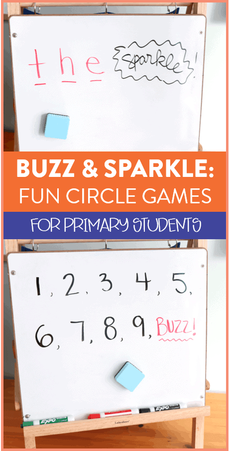 I am always on the hunt for new games to play in the classroom! Both Buzz and Sparkle are whole goup circle games that only take a few minutes to play. They help students with counting and spelling words so they're great for a primary classroom. Head over to the post to see how to play!