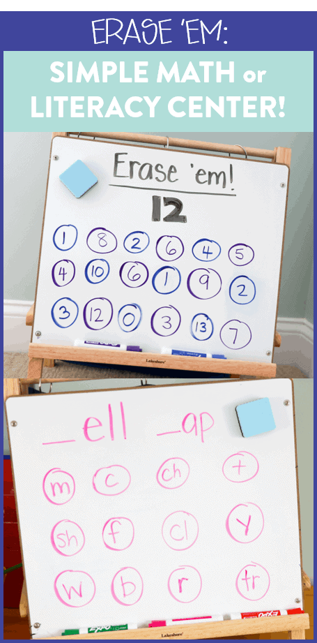 "This math or literacy center is a great warm up to use in small groups. The game, called ""Erase 'Em"" is simple to prepare and has students working on phoneme manipulation to create words. You can also put a math spin on it to have students practice their addition/subtraction skills! See how to play over on the blog!"
