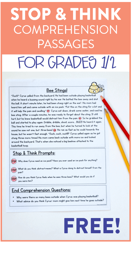 Stop & Think Comprehension Passages For First Grade - Susan Jones