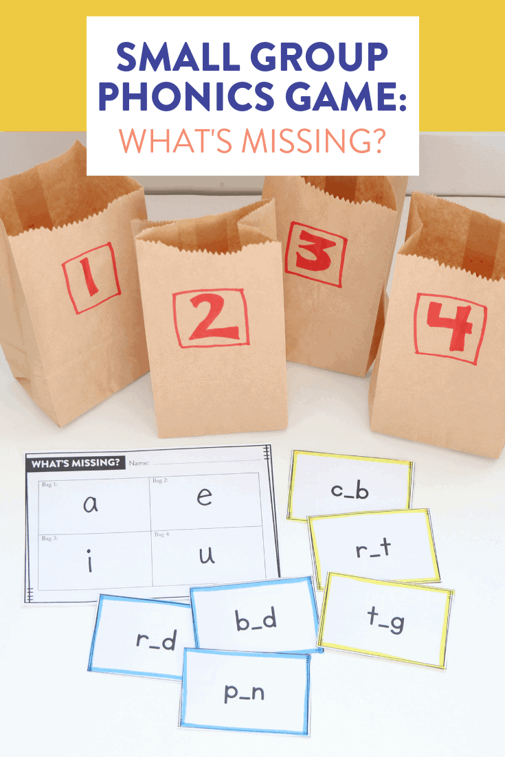This fun phonics game has students determining which letter is missing from a group of words! I love to play this with my first and second grade students since you can choose different cards based on specifically what they are learning: short vowels, digraphs, blends, etc. Head on over to the post to learn how to play!