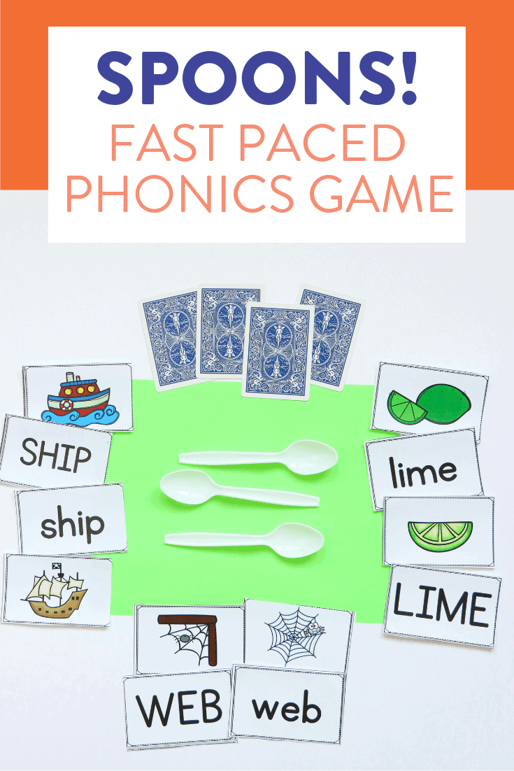 "I love finding new and fun ways to practice different phonics skills! Decoding CVC words, words with long vowels, digraphs and blends is a lot more fun when students can play the game Spoons! Head over to the post to see how to play the original way (with a deck of cards) and how to put a phonics ""spin"" on this classic card game!"