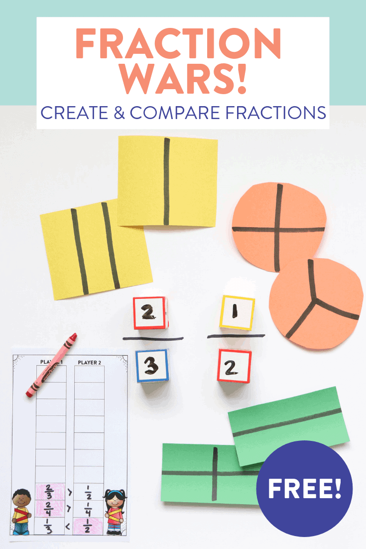 Need some new activities to help first grade students create and compare fractions? Head over to the blog post to see how to play Fraction Wars. This fun (and FREE) game has students rolling, creating, and comparing their fractions to see whose is bigger. The post also shares how to differentiate so this game works for second grade students as well.