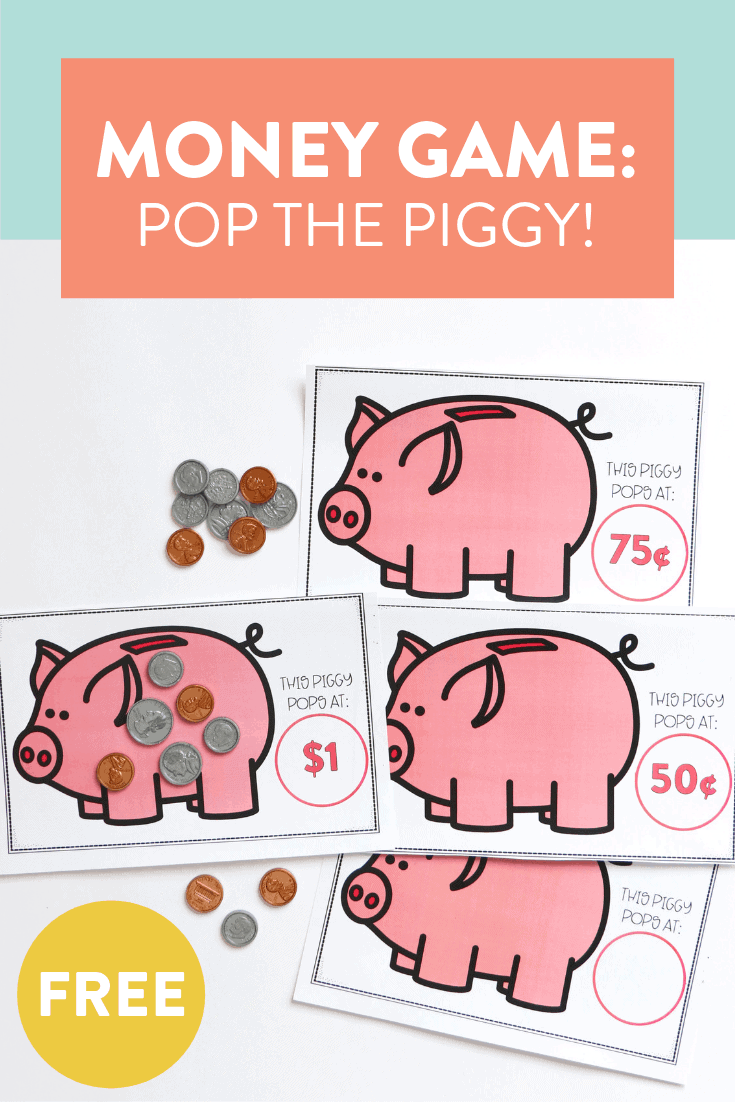 Looking for a fun and FREE money game to help your kindergarten, first, and second grade students identify coins and their values?! Pop the Piggy is a great whole group or partner activity where students try to pop theor piggy bank first! Grab your free game over on the blog!