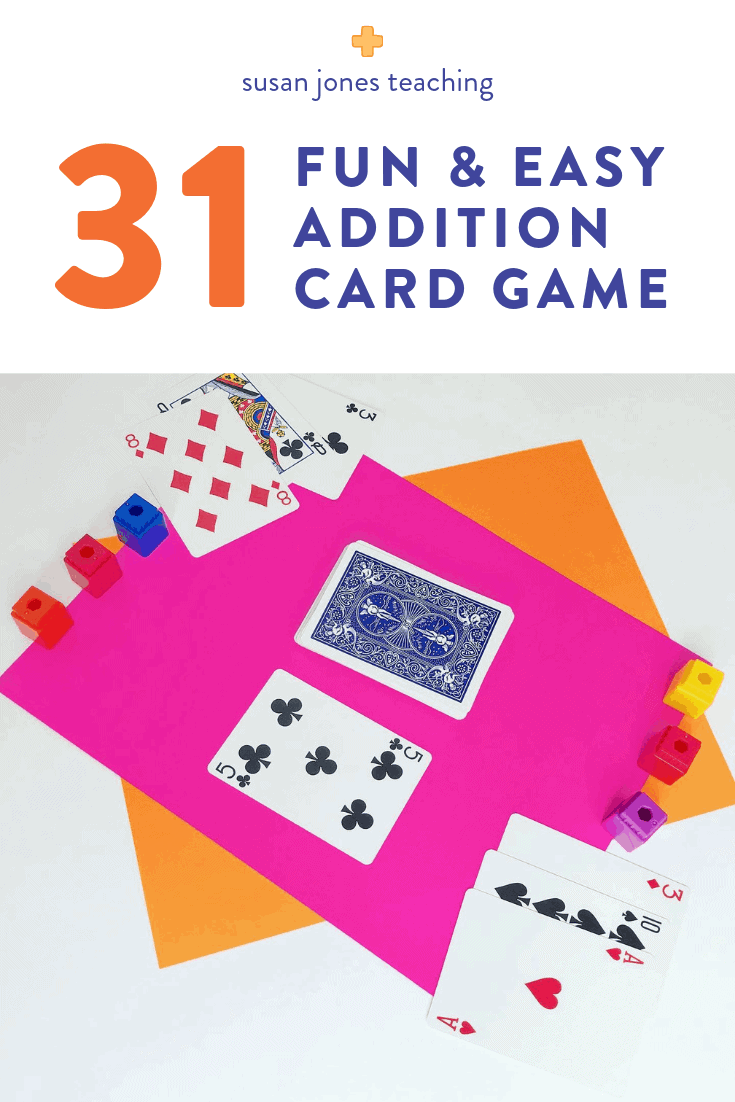 This fun and free addtion game is easy to learn and requires virtually no prep at all! You only need a deck of cards and some cubes or counters. First and second grade students must add the cards in their hand to try to be the first to get 31 before the game is over. Just head over to the blog post to see how to play.
