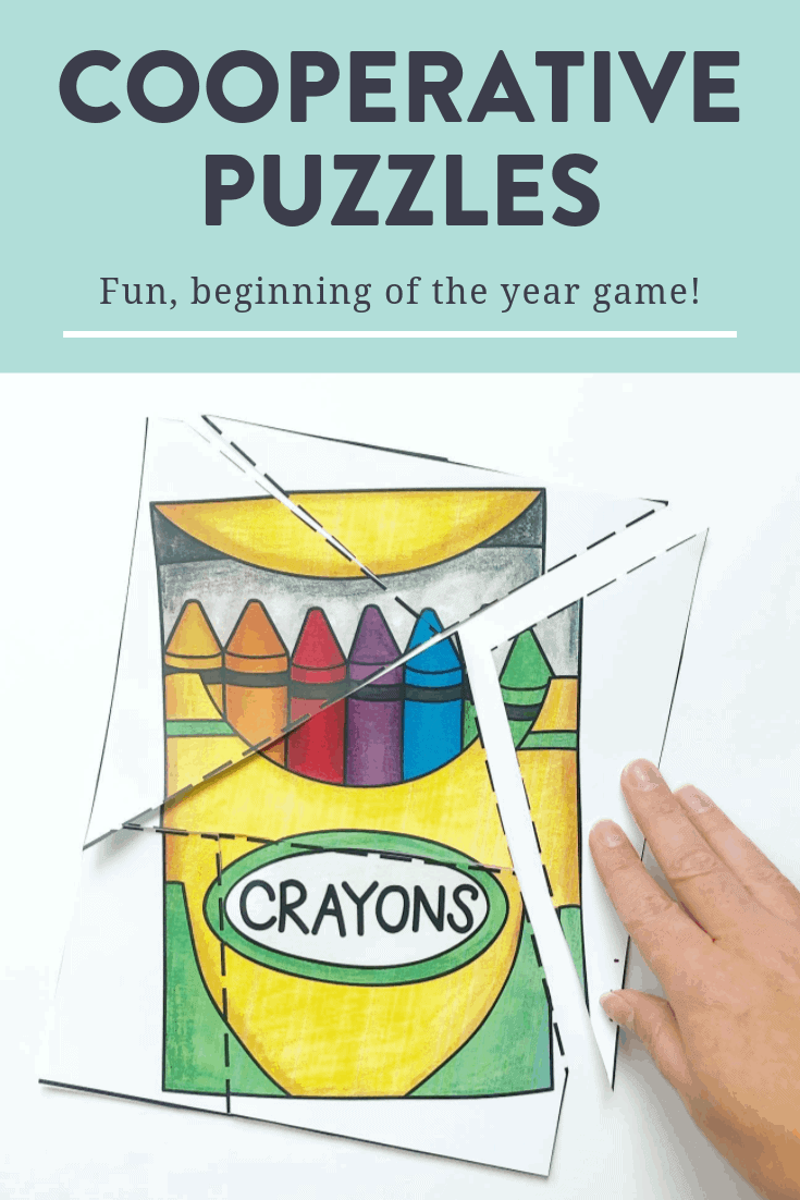 Cooperative puzzles are a great game for your students to play to learn how to work together and promote teamwork at the beginning of the year! You can grab some free puzzles and see how to play over on the blog!
