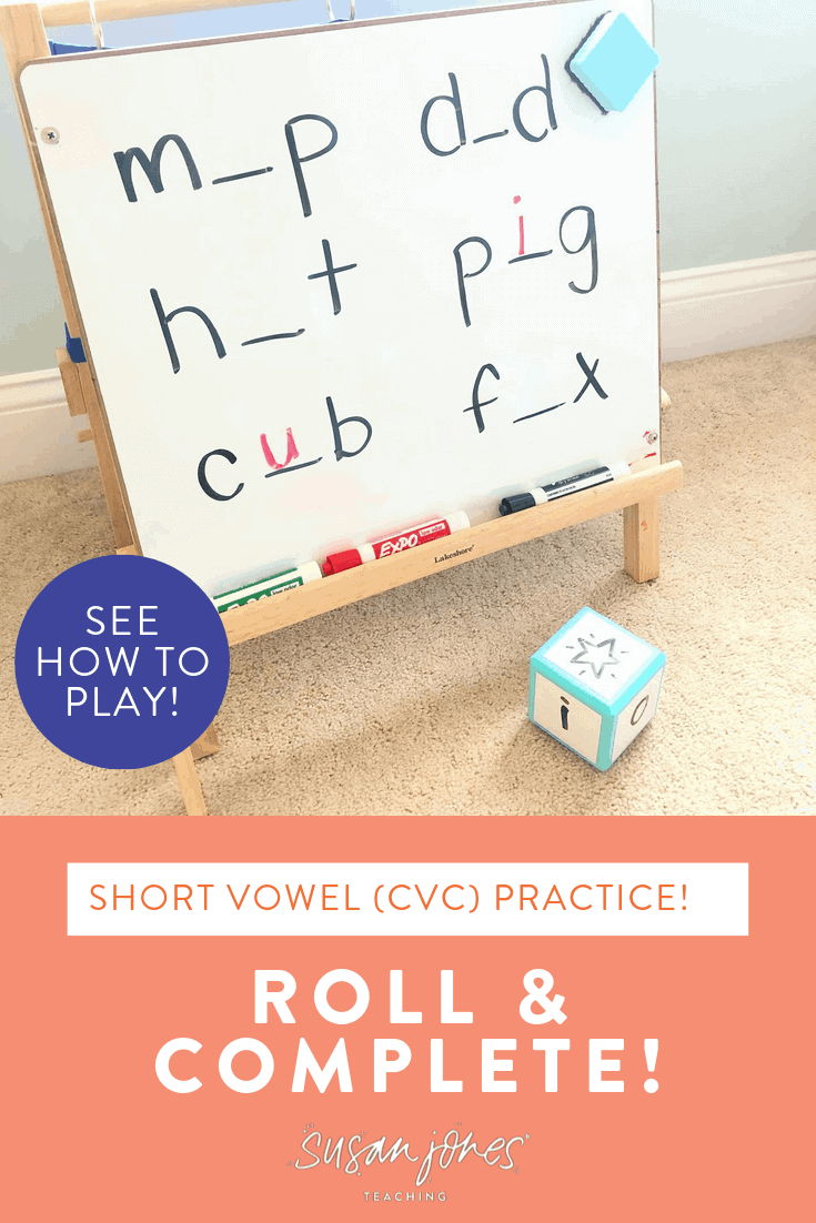 Teach students how to blend, segment, and manipulate phonemes in short vowel, CVC words with this fun game! All you need to play roll and complete is some dice and a white board! Head over to the blog post to see how to play and grab tips to differentiate!