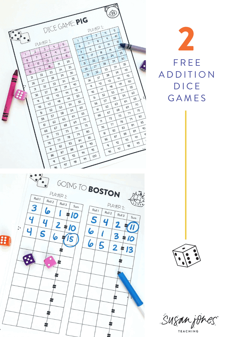 Head on over to the blog post to see how to play two fun dice games for kids! Both games are great for reviewing addition in first or second grade and you can grab some FREE printables over on the post!