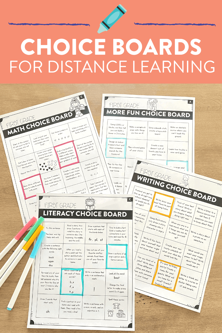 These choice boards are a great way to foster student independence both in the classroom and during distance learning! Each unit has a month worth of engaging math, literacy, writing, and indoor/outdoor fun choices for students to pick from! There is also a digital option for teachers to use and type their own options as well. Head over to the post to see the specifics for kindergarten, first grade, and second grade!