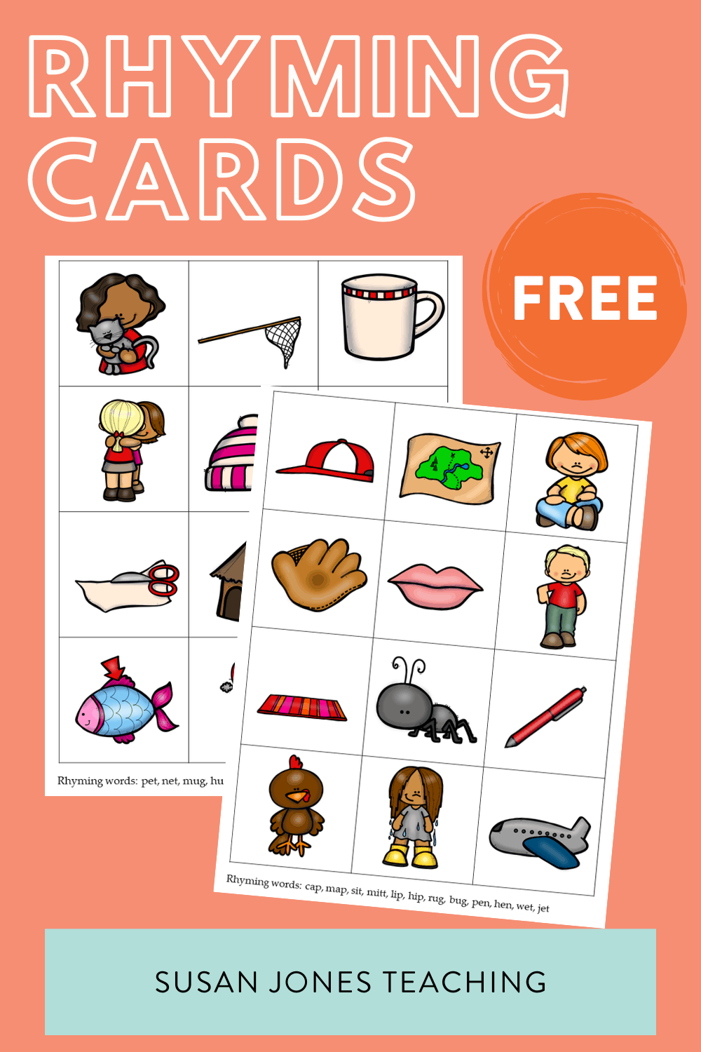 Rhyming activities for kindergarten, first, and second grade. Grab ideas and freebies over in the blog post!