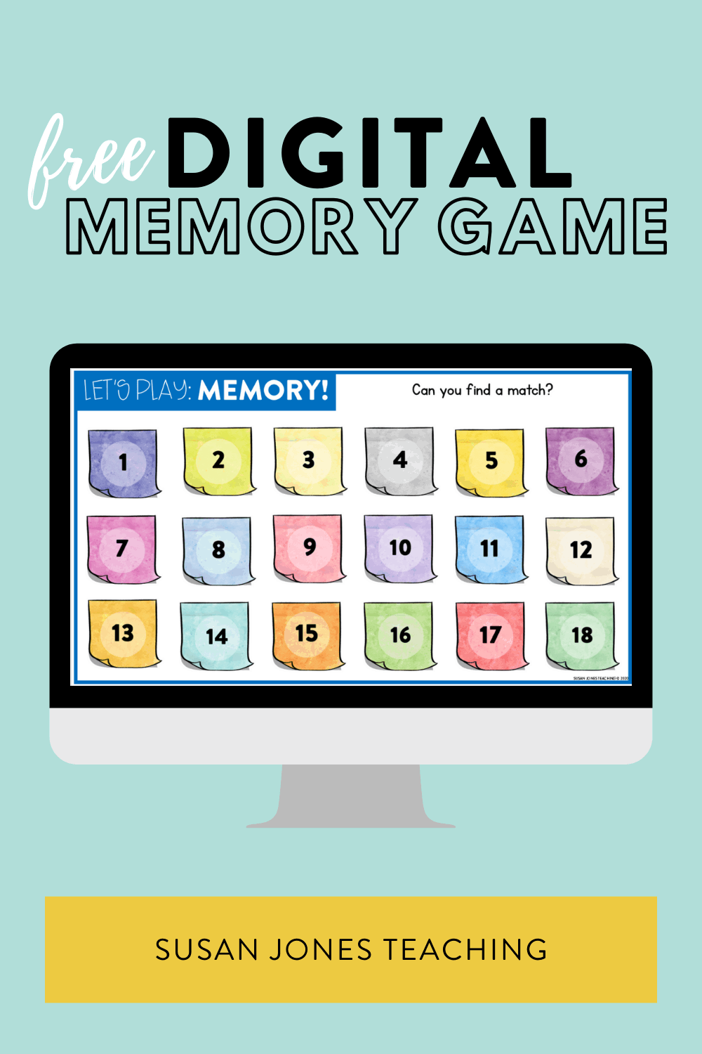 This small group digital game is an easy template to practice many different skills! Grab your free memory template over in the blog post!